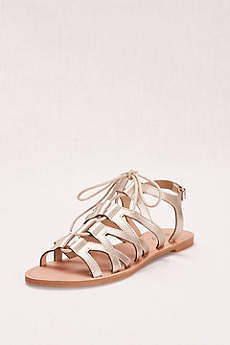 Qupid Ivory Sandals (Gladiator Lace-Up Sandal)