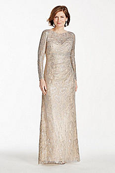 Long Sleeve Metallic Lace Dress CC378DB