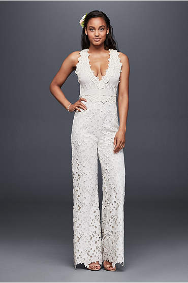 Lace and crochet V-neck ivory jumpsuit