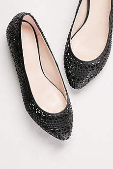 David's Bridal Black Ballet Flats (Crystal Embellished Ballet Flat)