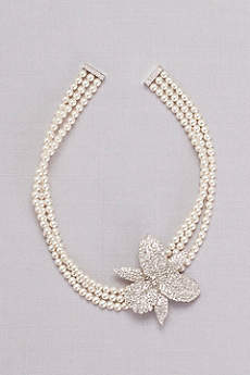 Pearl Choker with Pave Crystal Orchid