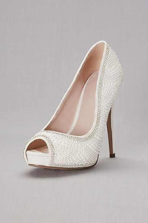 Blossom White Peep Toe Shoes Pearl And Crystal Sandals