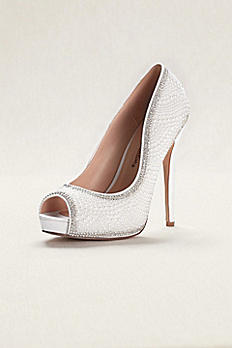 Pearl and Crystal Peep Toe Sandals CETERNITY106