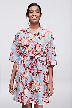 Floral Print Woven Cotton Robe CFROB15