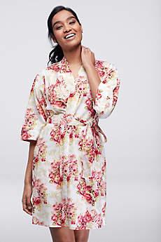 Floral Print Woven Cotton Robe