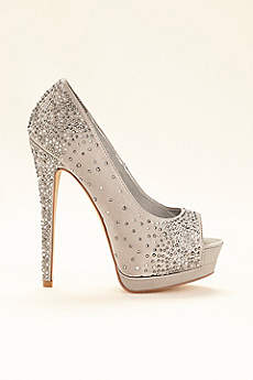 David's Bridal Grey Peep Toe Shoes (Platform Peep Toe Pump)