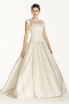 Oleg Cassini Satin Cap Sleeve Beaded Wedding Dress CJS720