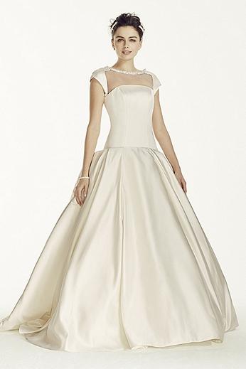 Oleg Cassini Satin Cap Sleeve Beaded Wedding Dress CJS720
