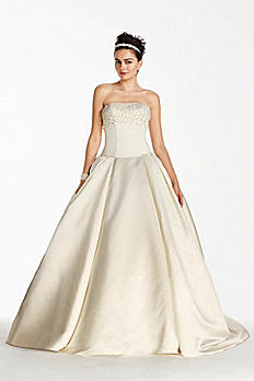 Oleg Cassini Satin Beaded Bodice Wedding Dress CJS721