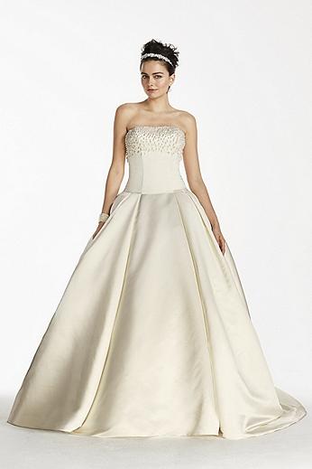 Oleg Cassini Satin Beaded Bodice Wedding Dress CJS721