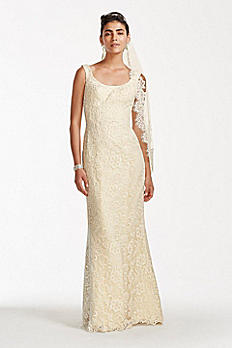 Oleg Cassini Lace Tank Scoop Neck Wedding Dress CKP571