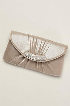 Pleated Metallic Envelope Clutch