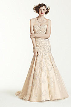Oleg Cassini Lace and Beaded Trumpet Wedding Dress CMB619