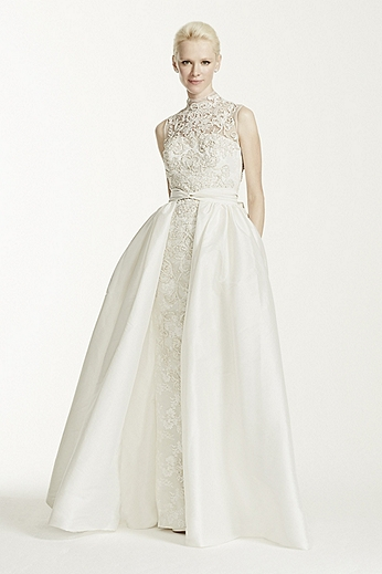 High Neck Lace Aline Gown with Lace Appliques CMB673