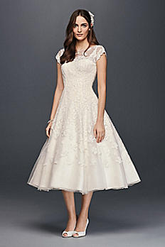 Oleg Cassini Cap Sleeve Illusion Wedding Dress CMK513