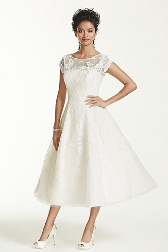 Cap Sleeve Wedding Dress with Illusion Neckline CMK513