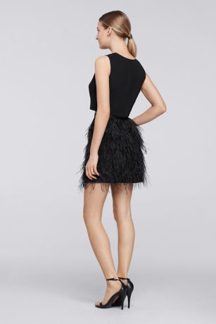 Short Two Piece Dress With Feather Skirt David S Bridal