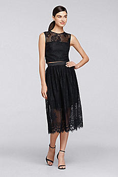 Two Piece Sleeveless Lace Top with Full Skirt CR281615