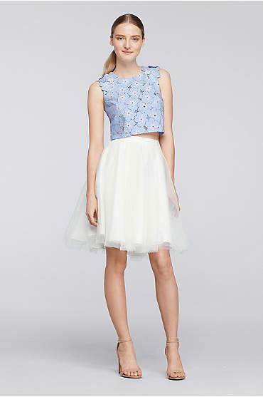 Two-piece dress with short white tulle skirt and blue lace top
