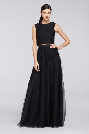 Black Lace and Tulle Bridesmaid Dress
