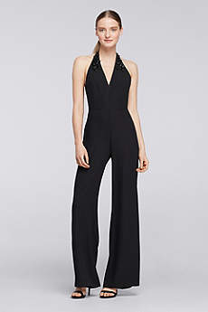 Halter Crepe Jumpsuit with Embellished Neck