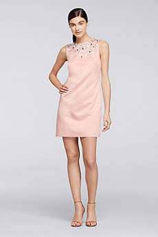 Embellished Sleeveless Short Satin Shift Dress