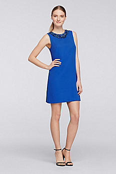 Short Crepe Shift Dress with Sequined Neckline CR281639