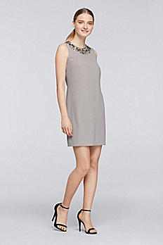 Short Crepe Shift Dress with Sequined Neck CR281639