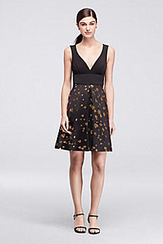 Short Dress with Gold Heart Skirt and Neoprene Top CR281664