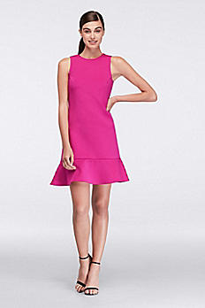 Flounced Neoprene Party Dress CR281674