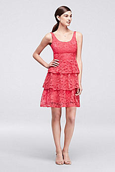 Tiered Lace Sleeveless Short Dress CR281676