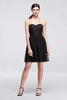 Short Dress with Linear Ribbon and Sequin Skirt CR281677