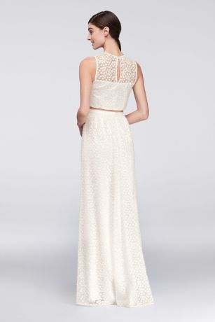Sequined Crop Top And Skirt Two Piece Dress David S Bridal
