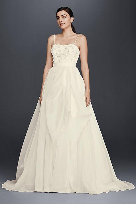 Floral bodice organza a line wedding dress davids bridal junglespirit Image collections