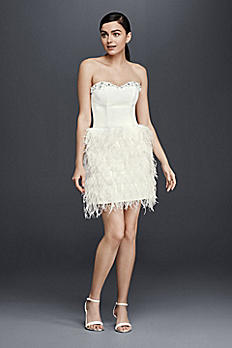 Two Piece Wedding Dress with Feather Skirt CR341605