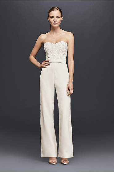 Strapless Crepe Jumpsuit with 3D Floral Details