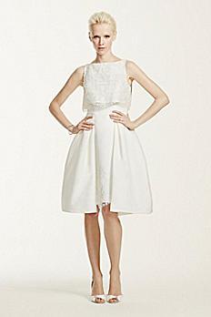 Oleg Cassini High Neck Satin Short Wedding Dress CRL661