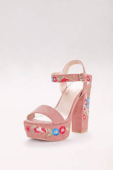 Floral-Embroidered Faux-Suede Platform Heels