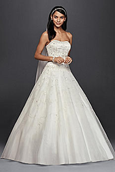 Oleg Cassini Satin Bodice Organza Wedding Dress CT258