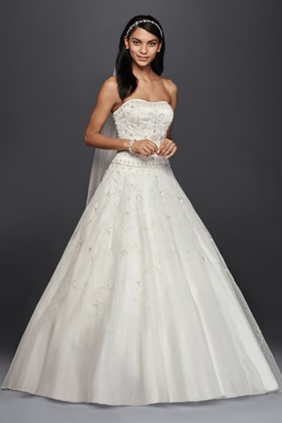 Oleg Cassini Satin Bodice Organza Wedding Dress | David's Bridal