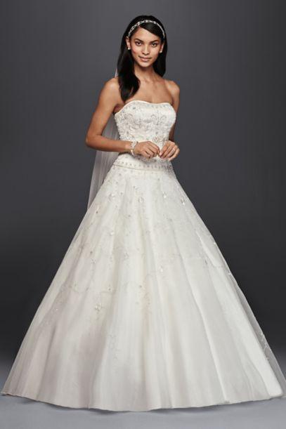 Oleg Cassini Satin Bodice Organza Wedding Dress | David's Bridal
