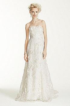 Oleg Cassini Subtle Pink 3D Floral Wedding Dress CWG464