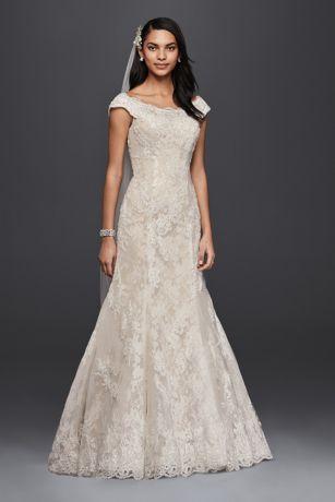 Oleg Cassini Off The Shoulder Lace Wedding Dress Davids Bridal - Wedding Dress Suit
