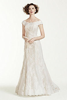 Oleg Cassini Off The Shoulder Lace Wedding Dress CWG533