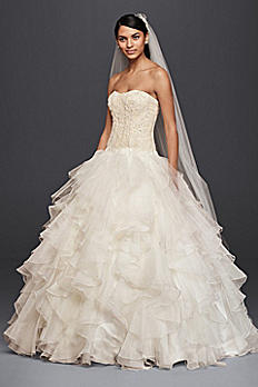 Oleg Cassini Strapless Ruffled Skirt Wedding Dress CWG568
