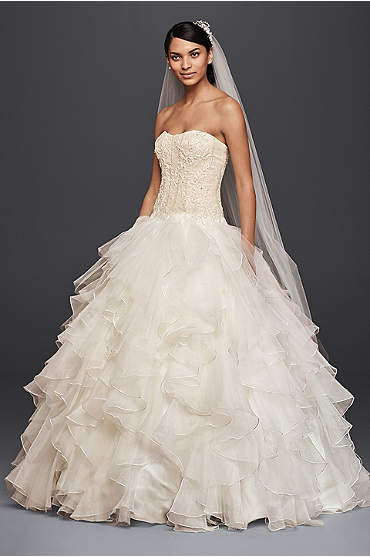 Oleg Cassini Strapless Ruffled Skirt Wedding Dress