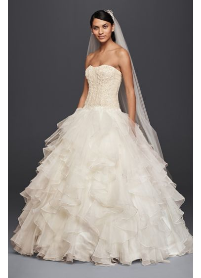 Oleg Cassini Strapless Ruffled Skirt Wedding Dress | David\'s Bridal