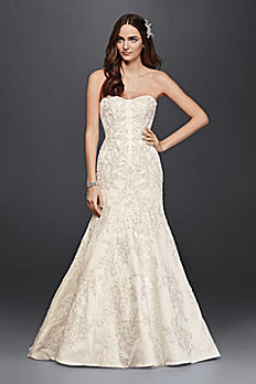 Oleg Cassini Satin Lace Strapless Wedding Dress CWG594