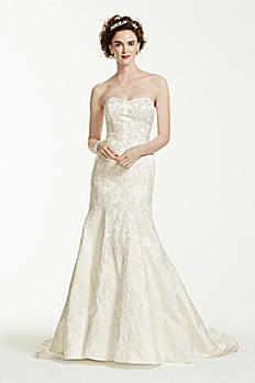 Petite Satin Trumpet Wedding Dress with Lace 7CWG594