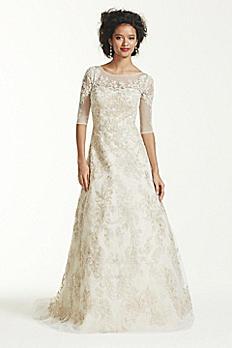 Oleg Cassini 3/4 Sleeve Lace Wedding Dress CWG630